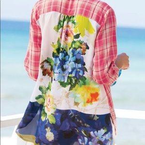 Soft Surroundings | Kaolin Pink Plaid Floral Top